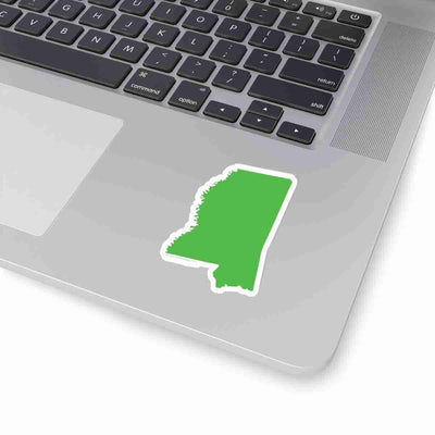Mississippi State Shape Sticker LIME GREEN