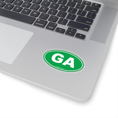 Georgia GA Euro Oval Sticker GREEN SOLID