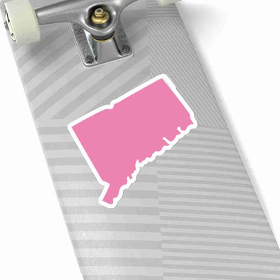 Connecticut State Shape Sticker PINK