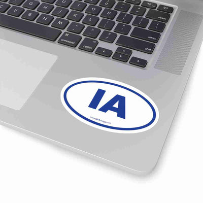 Iowa IA Euro Oval Sticker BLUE