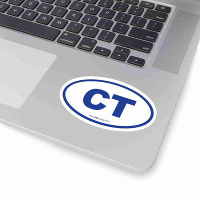 Connecticut CT Euro Oval Sticker BLUE