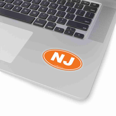 New Jersey Euro Oval Sticker SOLID ORANGE