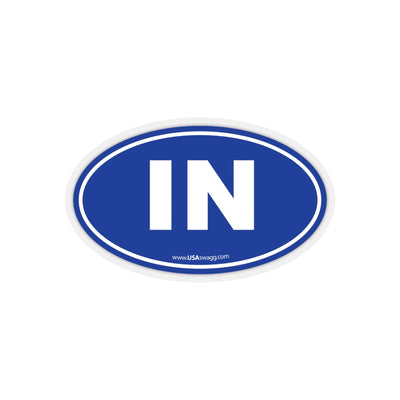 Indiana IN Euro Oval Sticker BLUE