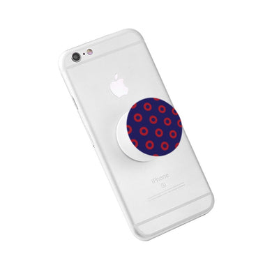 Fishmand Red Circle Donut White Collapsible Grip & Stand for Phones and Tablets