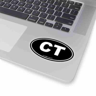 Connecticut CT Euro Oval Sticker BLACK SOLID