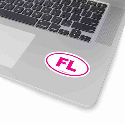 Florida FL Euro Oval Sticker PINK