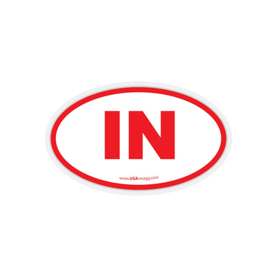 Indiana IN Euro Oval Sticker RED