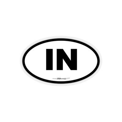 Indiana IN Euro Oval Sticker BLACK