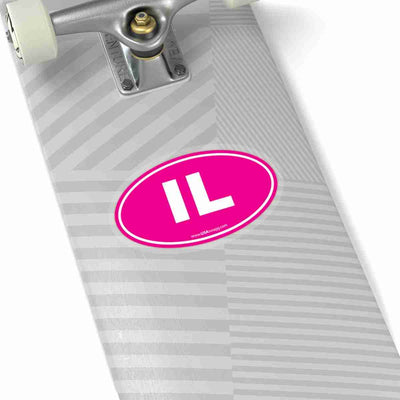 Illinois IL Euro Oval Sticker PINK