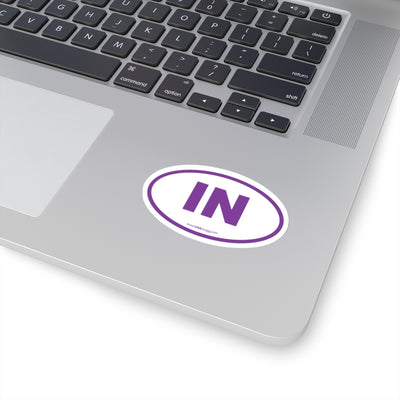 Indiana IN Euro Oval Sticker PURPLE