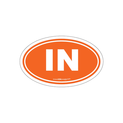 Indiana IN Euro Oval Sticker ORANGE