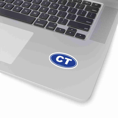 Connecticut CT Euro Oval Sticker BLUE SOLID