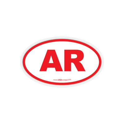 Arkansas AR Euro Oval Sticker RED