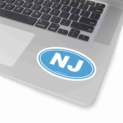 New Jersey Euro Oval Sticker SOLID LIGHT BLUE
