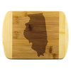 Illinois IL State Shape Bamboo Cutting Board