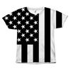 Black and White American Flag All Over Tshirt
