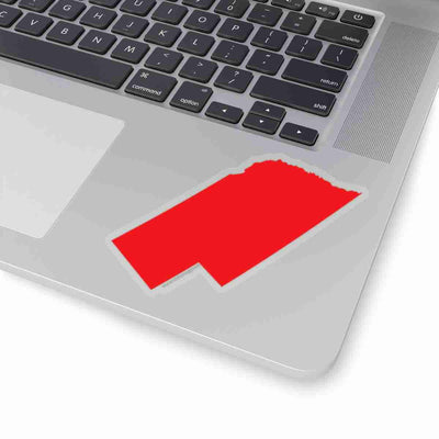 Nebraska State Shape Sticker RED