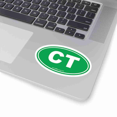 Connecticut CT Euro Oval Sticker GREEN SOLID