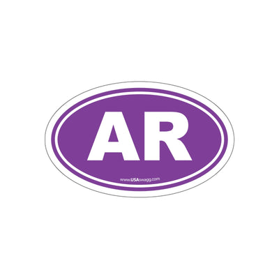 Arkansas AR Euro Oval Sticker PUPRLE SOLID