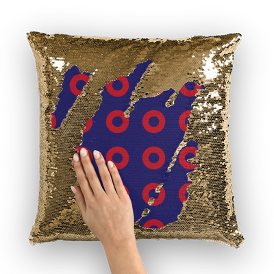 Red Circle Donut Sequin Cushion Cover
