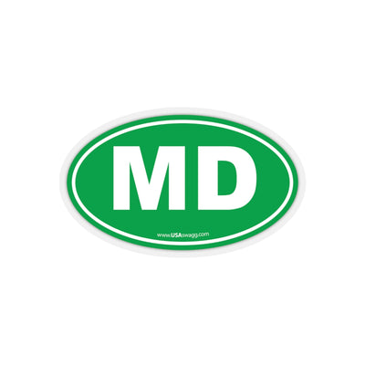 Maryland MD Euro Oval Sticker GREEN SOLID