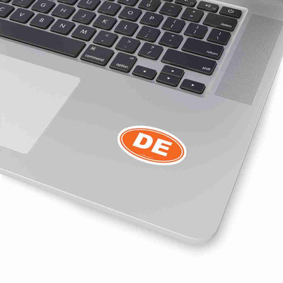Delaware DE Euro Oval Sticker ORANGE SOLID