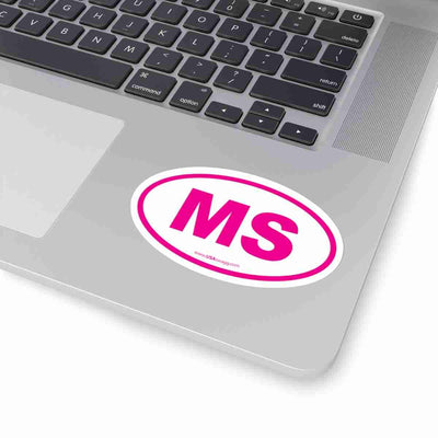 Mississippi MS Euro Oval Sticker PINK