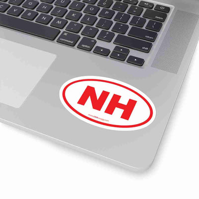 New Hampshire State Shape Sticker RED