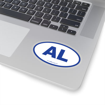 Alabama AL Euro Oval Sticker BLUE