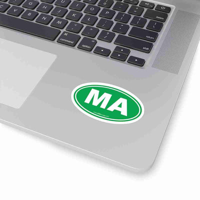Massachusetts MA Euro Oval Sticker GREEN