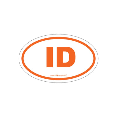 Idaho ID Euro Oval Sticker ORANGE
