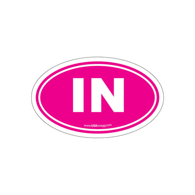 Indiana IN Euro Oval Sticker PINK