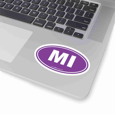 Michigan MI Euro Oval Sticker SOLID PURPLE
