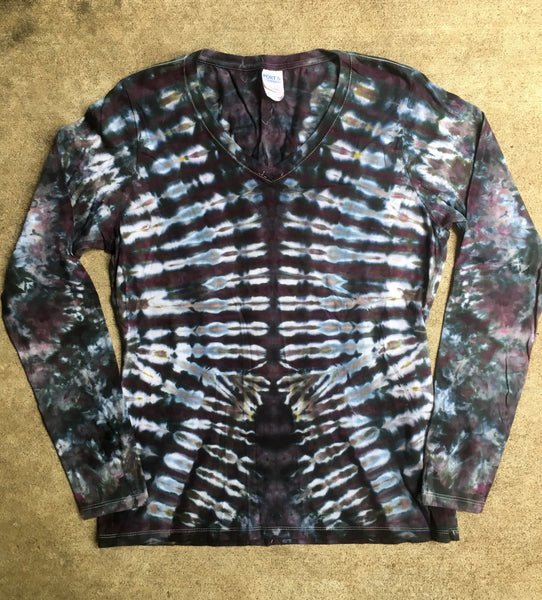 Tie Dye Womens Long Sleeve Tshirt - Medium