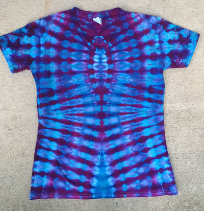 Tie Dye Womens V-Neck Tshirt - Small