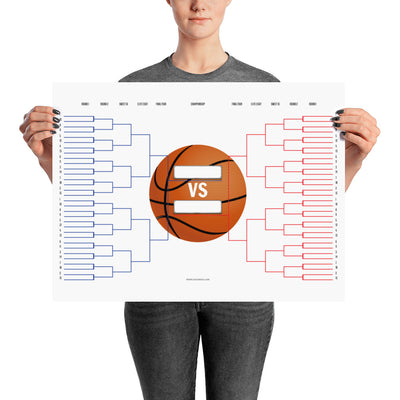March Madness Basketball Bracket Poster 24x18 inches