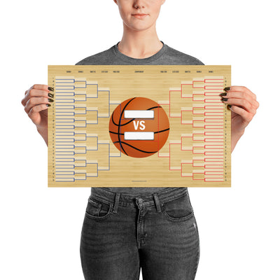 March Madness Basketball Bracket Poster 18x12 inches