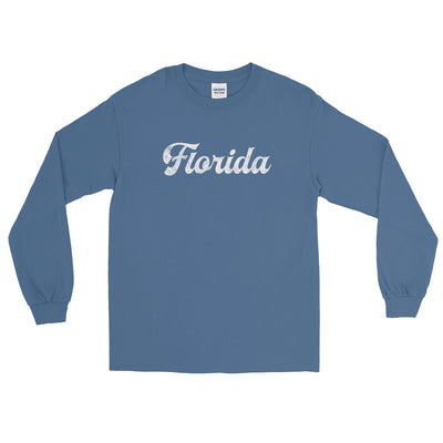 Florida Script Distressed White Long Sleeve T-Shirt