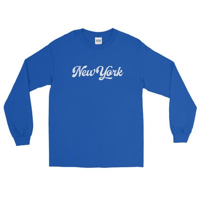 New York Script Distressed Long Sleeve T-Shirt
