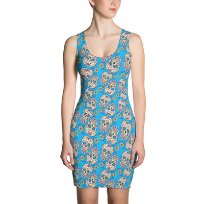 Sugar Skull Day of The Dead TEAL Dress
