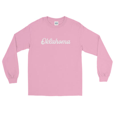 Oklahoma Script Distressed Long Sleeve T-Shirt