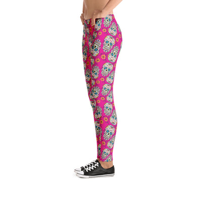 Sugar Skull Day of The Dead HOT PINK Leggings