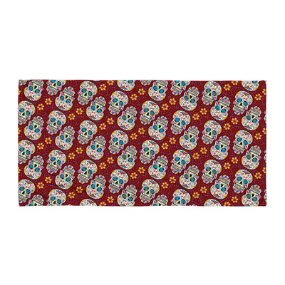Sugar Skulll Day of The Dead GARNET Towel