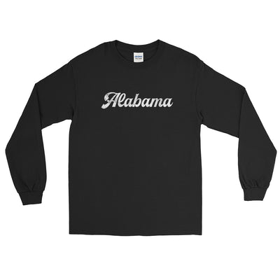 Alabama Script White Distressed Long Sleeve T-Shirt