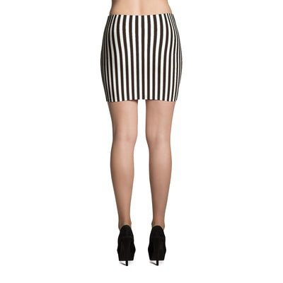 Halloween Black and White Stripped Mini Skirt