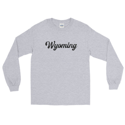 Wyoming Script Distressed Long Sleeve T-Shirt