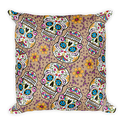 Sugar Skull Day of the Dead TAN Square Pillow