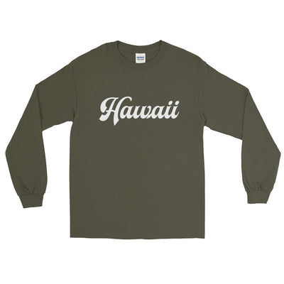 Hawaii Script White Long Sleeve T-Shirt