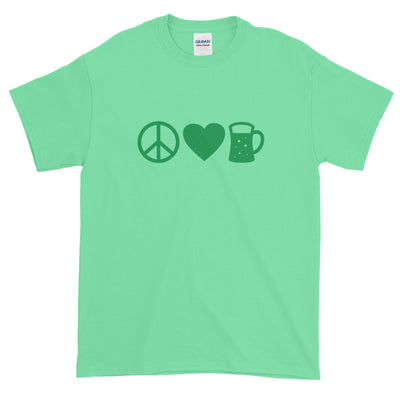 Peace Love Beer Funny St. Patricks Day Shirt Short-Sleeve T-Shirt