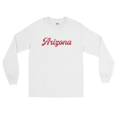 Arizona Script Distressed Crimson Long Sleeve T-Shirt